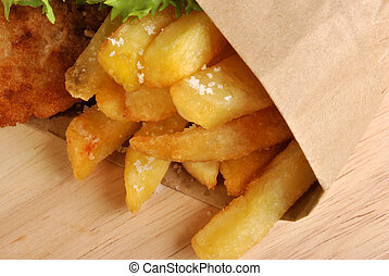 fish and organic chips, typical british food