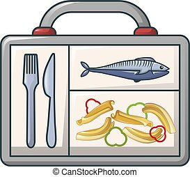 Fish and pasta in case icon, cartoon style