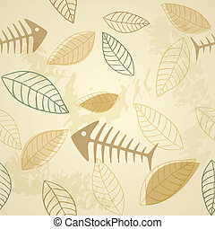 Fish and plant vector seamless pattern