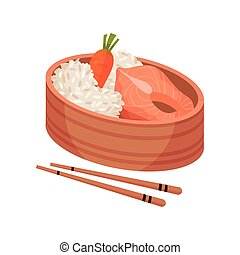 Fish and rice with chopsticks on white background.