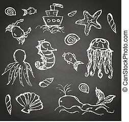 fish and sea life hand drawn doodle icons set on black board eps10
