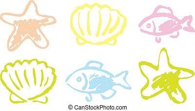 Fish and shellfish. hand drawing.