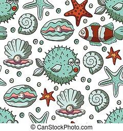 Fish and starfish sea vector background.