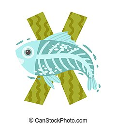 Fish and the letter X. Vector illustration on a white background.