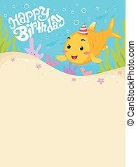 fish, anniversaire, fond, heureux