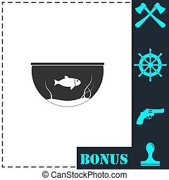 Fish aquarium icon flat