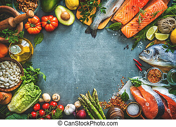 fish, aromatique, herbes, frais, assortiment, épices, ...