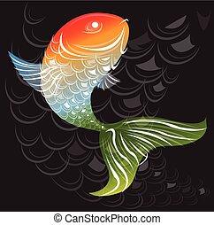 Fish art abstract pattern