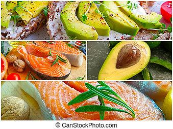 fish, avocado, tomato collage food background preparation