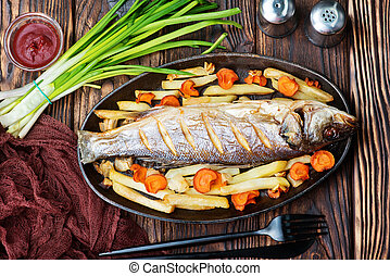 baked fish with vegetable on a table