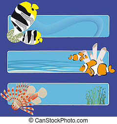 fish banners 3 no text - three tropical fish banners no text...