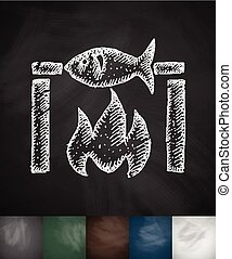 fish bbq icon. Hand drawn vector illustration