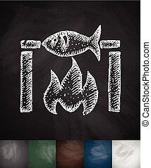 fish bbq icon. Hand drawn vector illustration