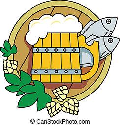 fish., bière, houblon, baril