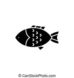 Fish black icon, vector sign on isolated background. Fish concept symbol, illustration