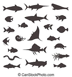 Fish black silhouettes vector icons