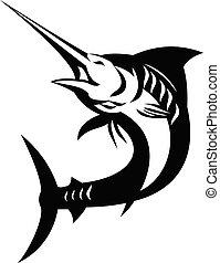 fish, bleu, blanc, sauter, retro, haut, noir, marlin