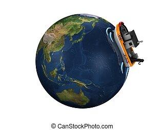 3d image, fictional fish boat on globe