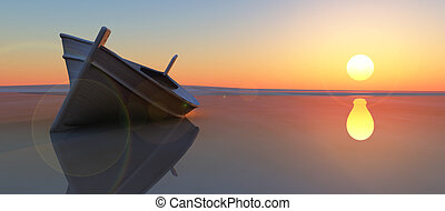 fish boat and sunset