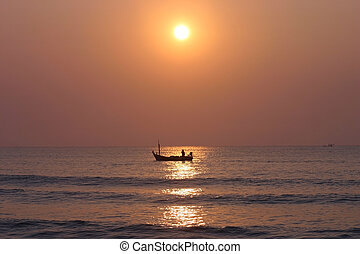 Fish boat at sunset, Thailand