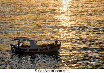 fish boat on the sea in the morning