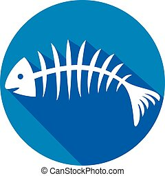 fish bone flat icon (fish skeleton)