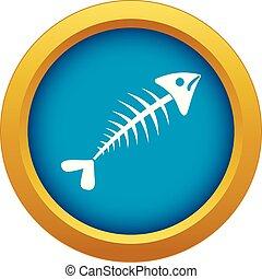 Fish bone icon blue vector isolated