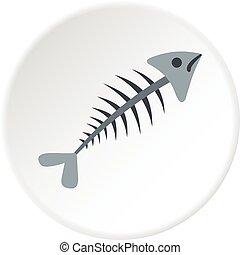 Fish bone icon circle - Fish bone icon in flat circle...