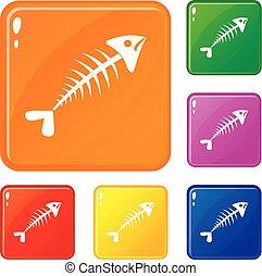 Fish bone icons set vector color - Fish bone icons set...