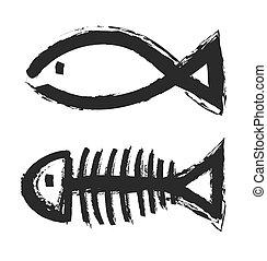 fish bone skeleton symbol vector