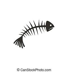 Fish bones icon, flat style