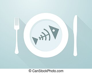 Fish bones on a plate with cutlery