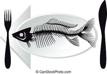 fish bones on plate, vector