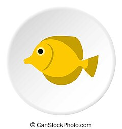 Fish butterfly icon, flat style