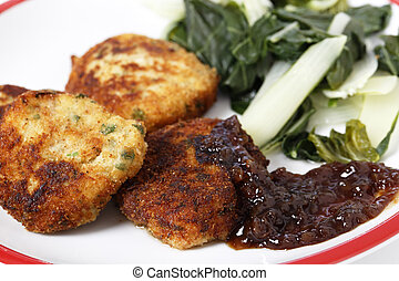 Fish cakes with onion marmalade - Homemade fishcakes and...