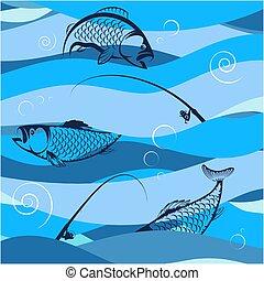 fish, cannes pêche, vagues, conception