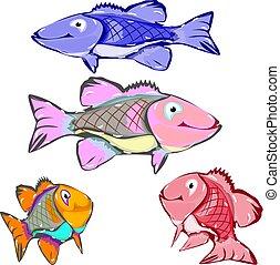 fish, caractère, collection, fond, blanc, dessin animé