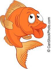 fish, carattere, cartone animato, oro, o