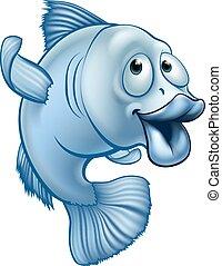 fish, carattere, cartone animato