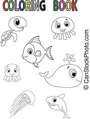 fish, cartone animato, libro, coloritura