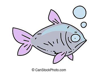 Fish cartoon hand drawn image
