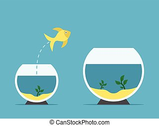 Gold Fish Jumping Escape From Fishbowl To Other Aquarium Simple