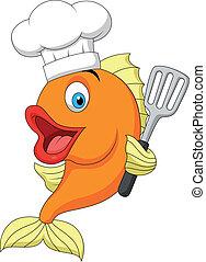 Fish chef cartoon - Vector illustration of Fish chef cartoon