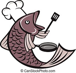 Fish Chef Cook Holding Spatula Frying Pan Cartoon - ...