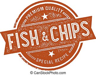 Vintage style fish and chips menu sign.