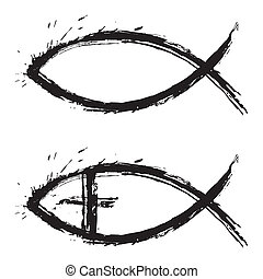 Chrisitan religion symbol fish created in grunge style