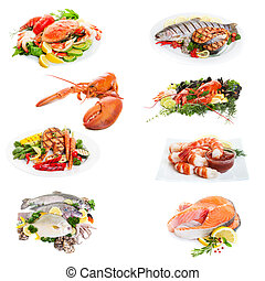 Fish Collage - Sea food collage made from eight photographs...