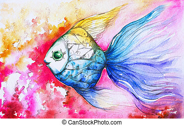 Fish - Colorful fish on pink background watercolor painted.