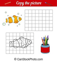 Fish coloring book Copy on the grid. With a sample of clown fish and bubbles. Leisure development. Game for children magazine. Cartoon sea life. Page of the worksheet.