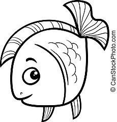 fish, coloritura, cartone animato, pagina